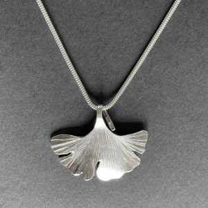Silver Gingko Leaf Pendant on a snake chain