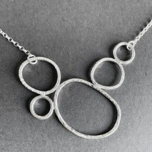 Silver organic loop necklace