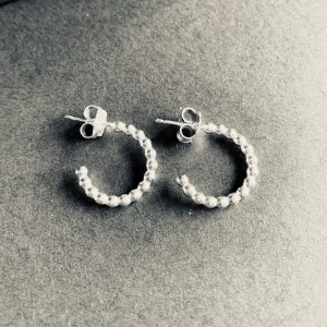 Beaded Silver Half Hoop Earrings