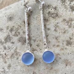 Blue Sea Glass Earrings
