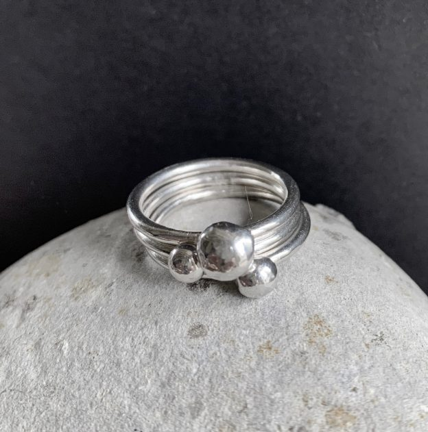 3 silver stacker rings