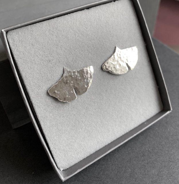 Gingko Leaf Silver Stud Earrings