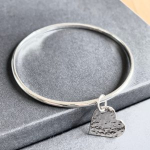 Heart Charm Silver Bangle