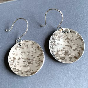 Textured Silver Disc Earrings