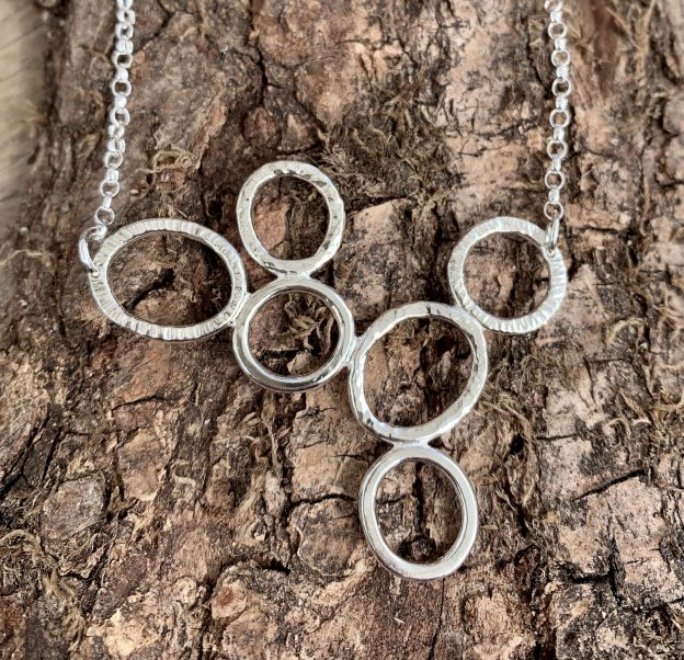 Silver textured bubble necklace