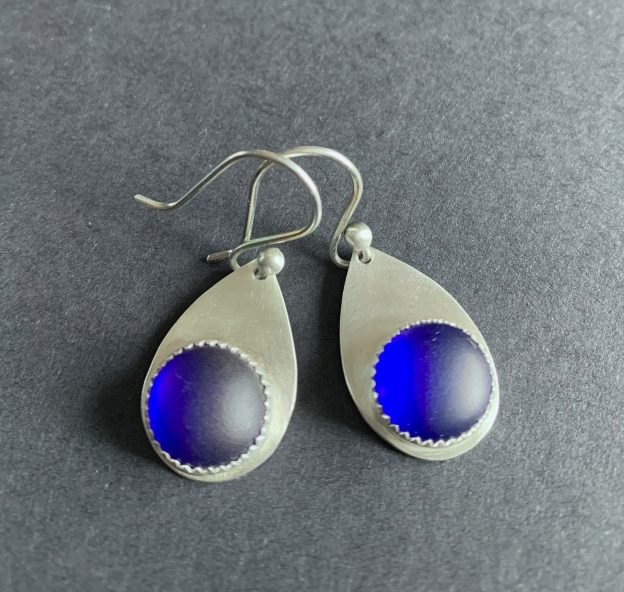 Blue Sea Glass and Silver Earrings