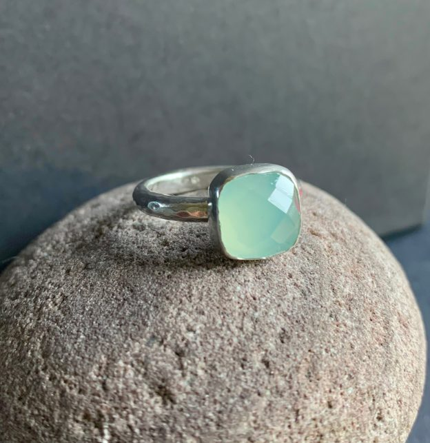 Blue Chequerboard Chalcedony and Silver Ring