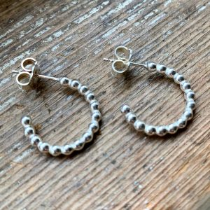Beady Sterling Silver Half-Hoop Earrings