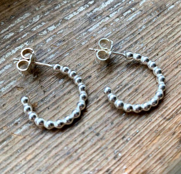 Beady Sterling Silver Half-Hoop Earrings