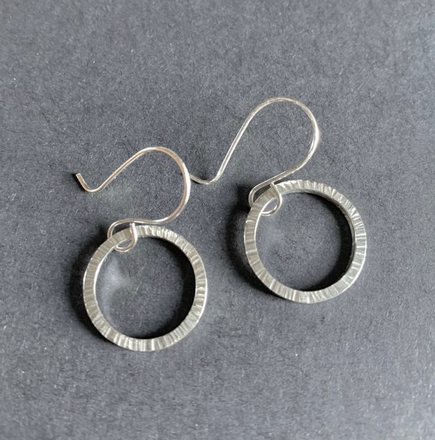 Textured Silver Square Ring Earrings