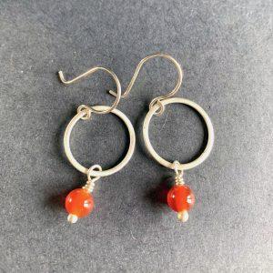 Silver and Carnelian Hoop Earrings