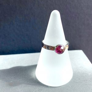Faceted Garnet and Silver ring
