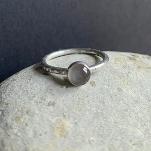 Grey Moonstone and Silver Ring