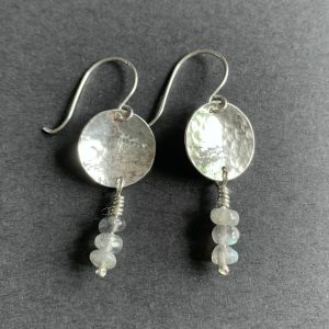Silver and Labradorite Disc Earrings