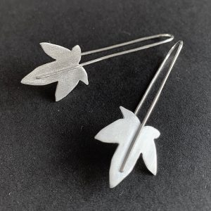Silver Maple leaf long wire earrings
