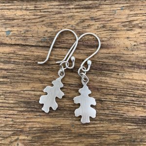 Silver Oak Leaf Earrings with matte finish