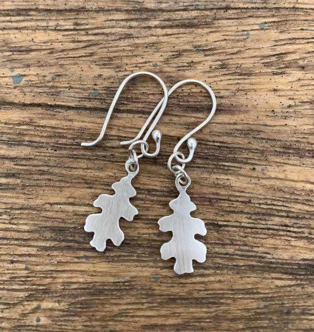 Silver Oak Leaf Earrings with matte finish