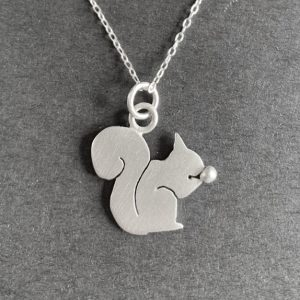 Squirrel with Acorn Silver Pendant