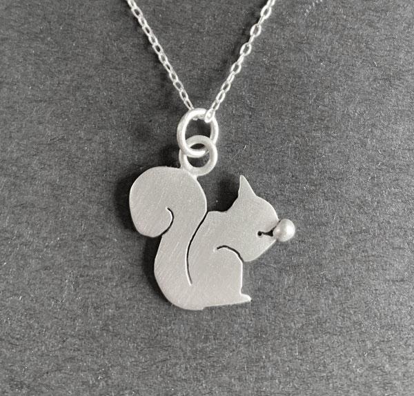 Squirrel with Acorn Silver Pendant