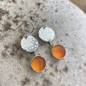 Amber Sea Glass & Silver Earrings