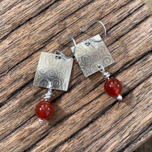 Carnelian Swirl Pattern Earrings