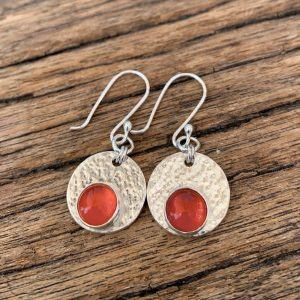 Carnelian & Silver Disc Earrings