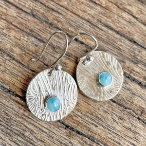 Larimar and silver earringss