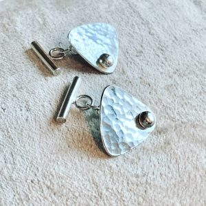 Silver Plectrum shaped cufflinks