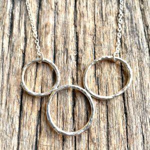 Silver Loop Trio Necklace